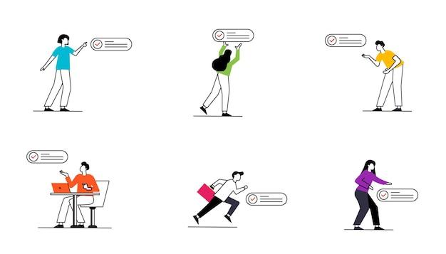 Set di icone di segni di spunta con persone in varie posizioni