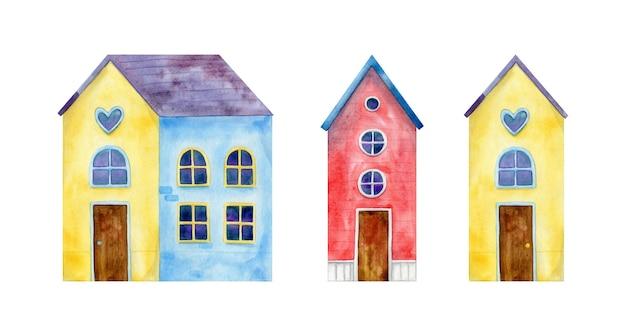Insieme delle case allegre dell'acquerello