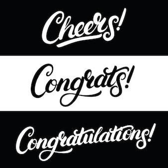 Set di saluti, complimenti, scritte scritte a mano di congratulazioni.