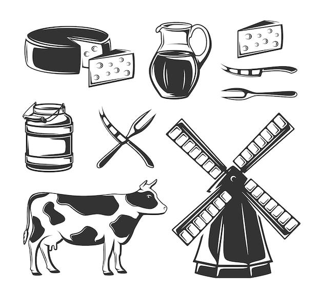 Insieme di elementi di formaggio per il design isolato. elementi di fattoria retrò.