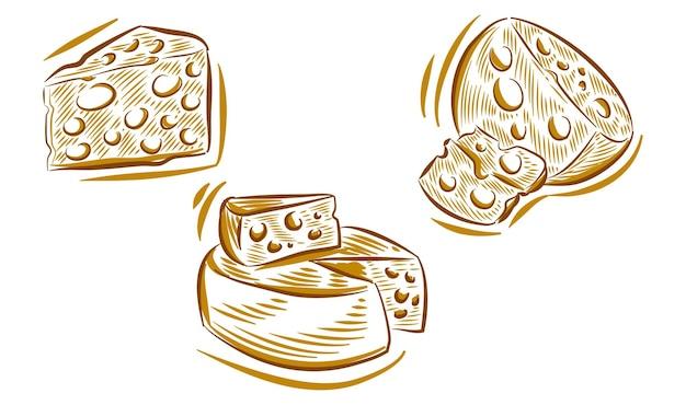 Set di doodle di illustrazione del disegno a mano di formaggio per l'elemento di sfondo del logo del marchio