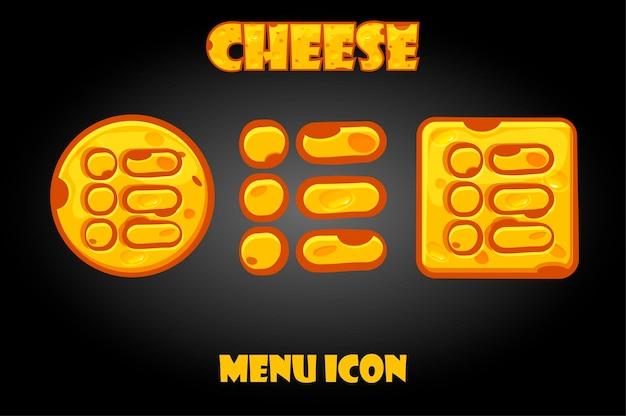 Set di pulsanti del menu di formaggio per il gioco. icone dell'alimento isolate del fumetto per l'interfaccia.