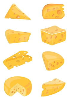 Set di formaggi. raccolta di formaggi a fumetti. dairy. illustrazione.
