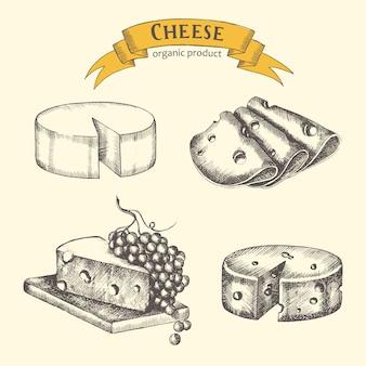 Set formaggi disegnati a mano a fette e con uva in stile vintage. schizzo. illustrazione