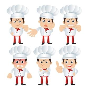 Set di personaggi dello chef in diverse pose