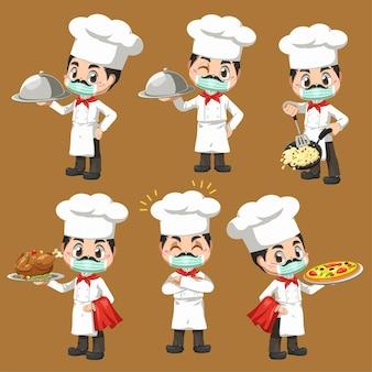 Set di chef uomo che prepara il panificio e il pasto nel personaggio dei cartoni animati, mascotte nel disegno dell'illustrazione per il logo aziendale culinario