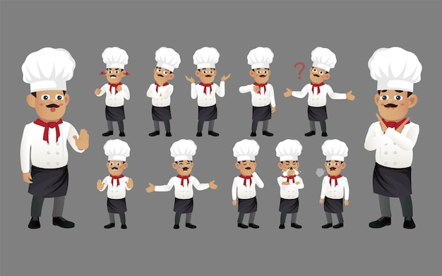 Set di chef con emozioni diverse
