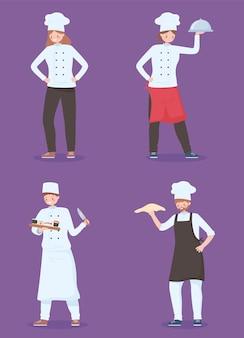 Set di chef con caratteri di lavoratori di cucina cibo e piatto