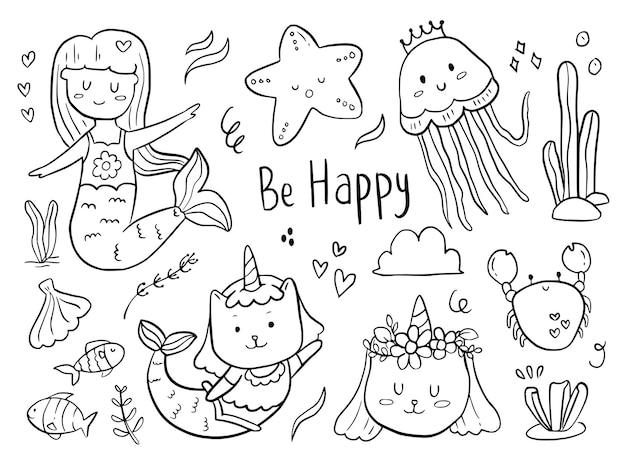Insieme del fumetto del disegno di doodle della gallina del pollo per i bambini da colorare e stampare