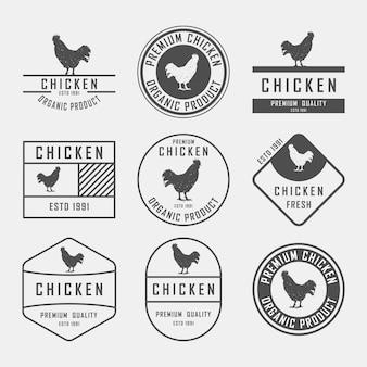 Set di etichette di pollo, distintivi ed elementi di design.