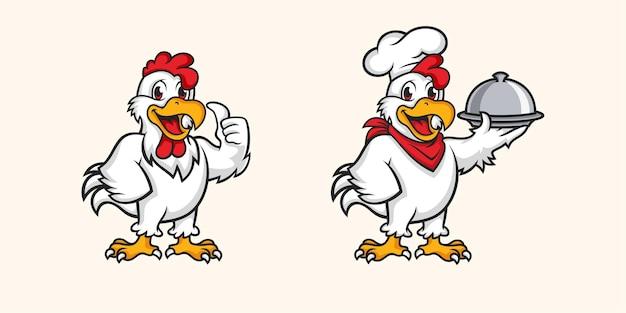 Set di mascotte di pollo isolato su beige