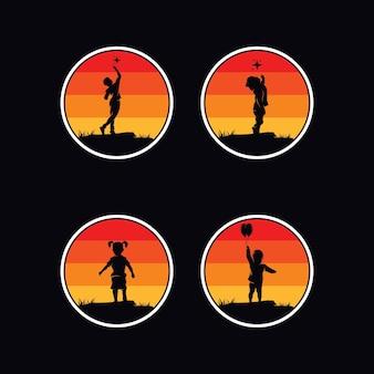 Set di logo di sogni di bambini