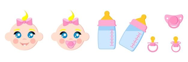 Set di icone di volti di bambini, biberon con latte, ciucci, manichini per bambini, termometro per capezzoli, roditrice.