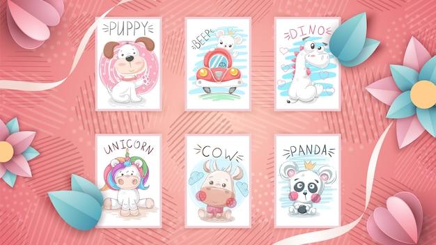 Set di illustrazioni di animali infantili