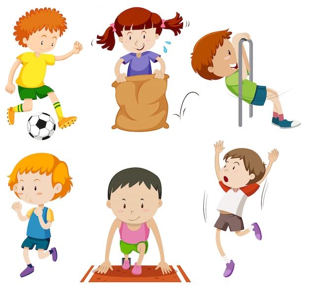 Set di bambini che fanno attività sportive