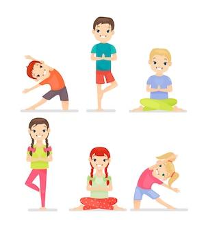 Set di bambini che fanno esercizi di yoga