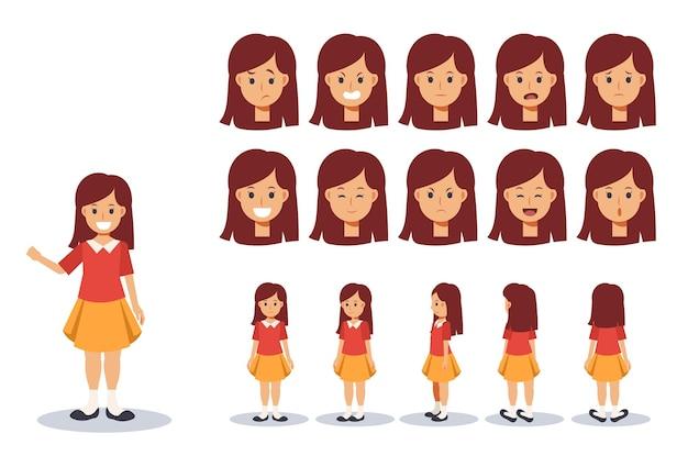 Set di bambini ragazza indossare abbigliamento casual in varie azioni. espressione di emozione. personaggio animato con vista frontale, laterale e posteriore.