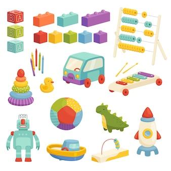 Set di giocattoli educativi per bambini con un design carino. palla divertente, razzo, costruttore e altri giochi di logica. isolato su uno sfondo bianco.