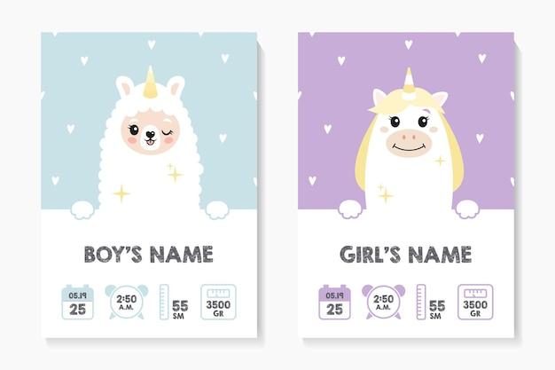 Una serie di poster per bambini, altezza, peso, data di nascita. lama, lama, alpaca, unicorno. illustrazione vettoriale su sfondo scuro e grigio. illustrazione metrica neonato per camera da letto dei bambini.