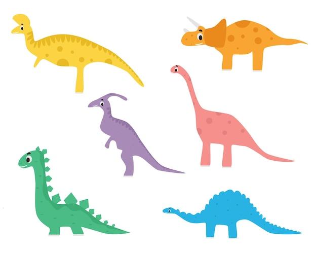 Set di illustrazioni per bambini di disegno di illustrazione vettoriale di dinosauri