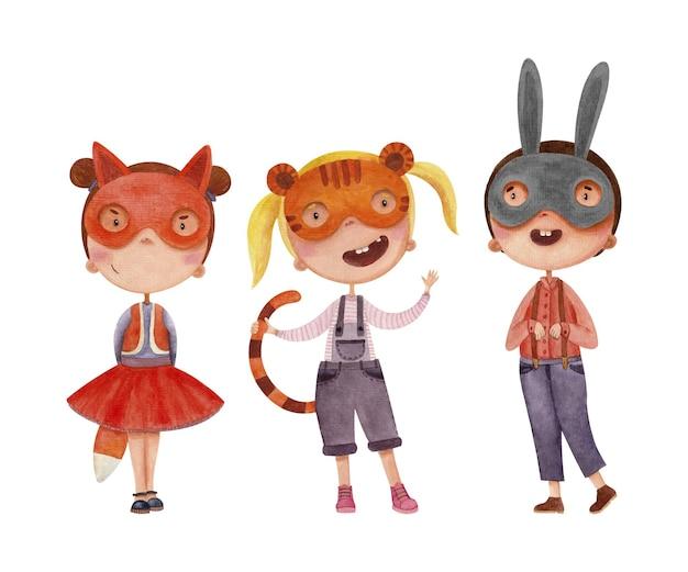 Una serie di illustrazioni per bambini disegnate ad acquerello con bambini in costumi di animali per un masquer