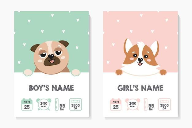 Una serie di poster per bambini altezza peso data di nascita corgi pug