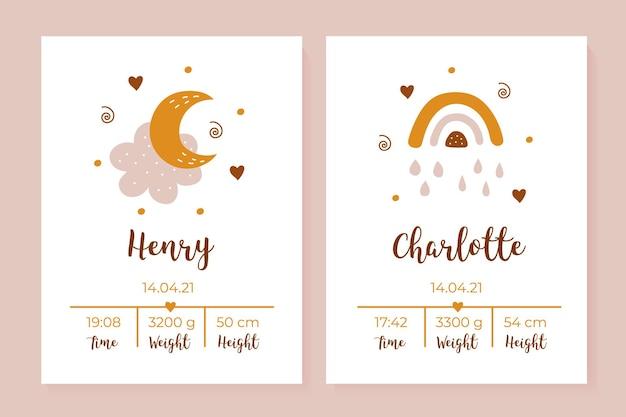 Una serie di poster per bambini altezza peso data di nascita