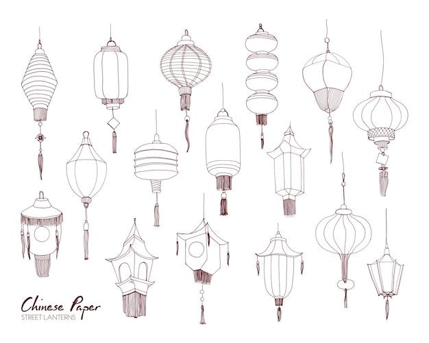 Set di lanterne di strada di carta cinese di diversi tipi e dimensioni disegnati a mano con linee di contorno