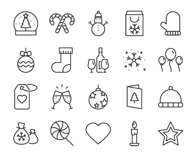 Set di icone di linea di natale, come scatola, regalo, inverno