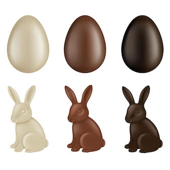 Set di uova di pasqua di cioccolato e conigli