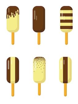 Set di ghiaccioli al cioccolato isolati su sfondo bianco. sei tipi di gelato al cioccolato.