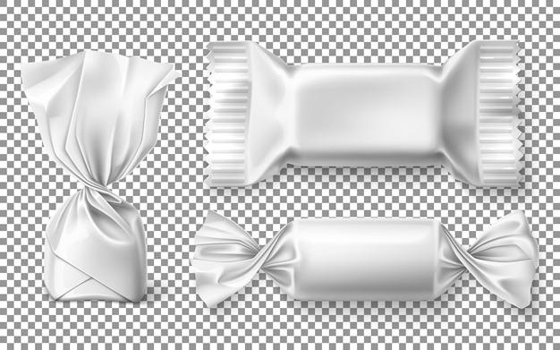 Set di dolci al cioccolato in mockup di involucro per caramelle di design su uno sfondo trasparente realistico