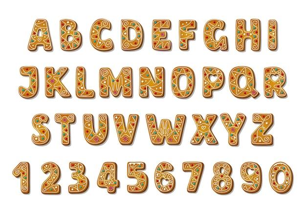 Set di biscotti di panpepato di alfabeto di natale isolati su priorità bassa bianca. carattere di lettere di vacanza abc in stile cartone animato. illustrazione vettoriale