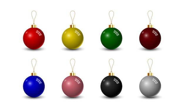 Set di palla di natale su sfondo bianco