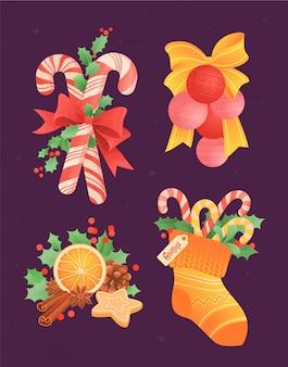 Una serie di palle di natale con un fiocco, una fetta di arancia con cannella, bastoncini di zucchero in un calzino e foglie di agrifoglio