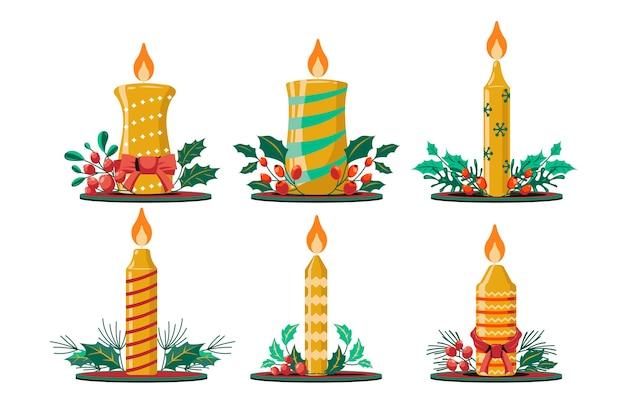 Set di candela di natale con sfondo di fiori di natale ramo