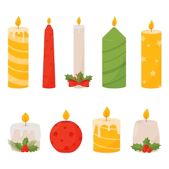 Set di candele di natale isolato