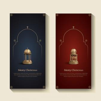 Set di modello di disegno di cartolina di natale con due lanterne della chiesa d'oro