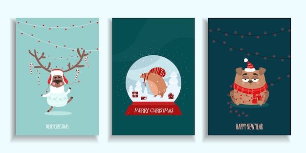 Set di cartolina di natale con cervi, orso in una palla di vetro, cane in una sciarpa in stile disegnato a mano