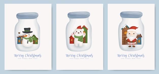 Set di cartoline di natale e biglietti di auguri di capodanno con simpatico babbo natale, orso e pupazzo di neve in un barattolo.