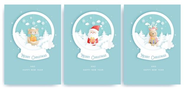Set di cartoline di natale e biglietti di auguri di capodanno con simpatici elementi natalizi e babbo natale su un globo di neve di carta