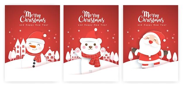 Set di cartoline di natale e biglietti di auguri di capodanno con un simpatico babbo natale, polare e pupazzo di neve nel villaggio della neve.