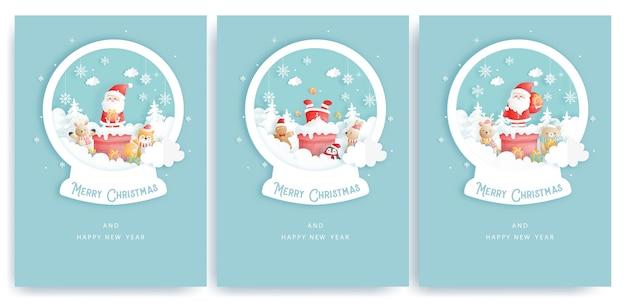 Set di cartoline di natale e biglietti di auguri di capodanno