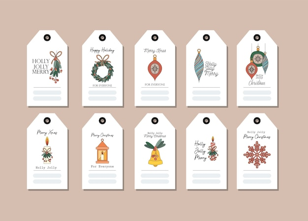 Set di cartoline di natale su disegno di illustrazione rosa