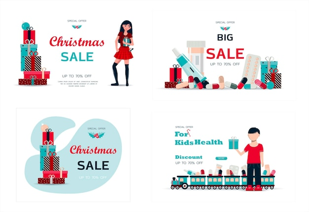 Set di cartoline di natale illustrazione vettoriale di una grande vendita di natale accogliente caminetto con libri sul ...