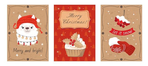 Set di cartoline di natale con alpaca, cupcake di vischio, guanti, saluto.