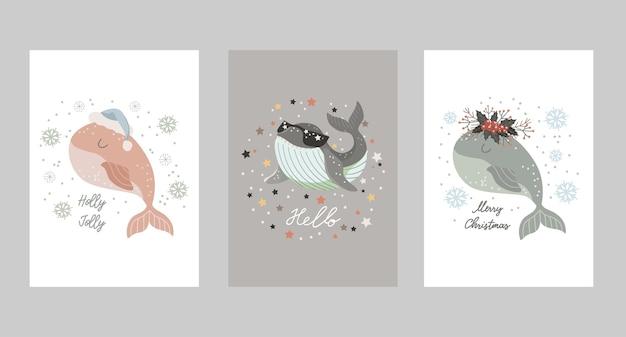 Set di cartoline di natale con baby balena