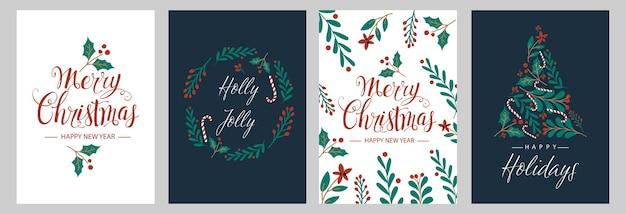 Impostare cartoline di natale con albero di natale, ghirlanda, decorazioni natalizie.
