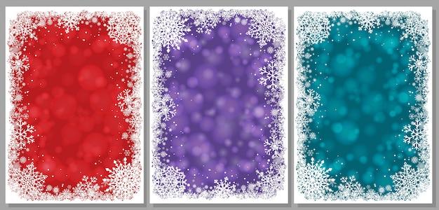 Set di cartoline di natale con fiocchi di neve