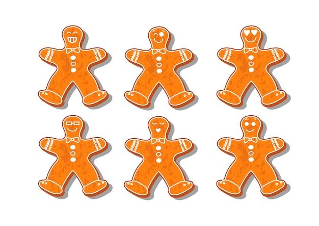Set di biscotti di natale. set di diversi biscotti di panpepato per natale. pan di zenzero di capodanno sotto forma di personaggi natalizi. diversi personaggi del nuovo anno. cottura casalinga. prodotti da forno.